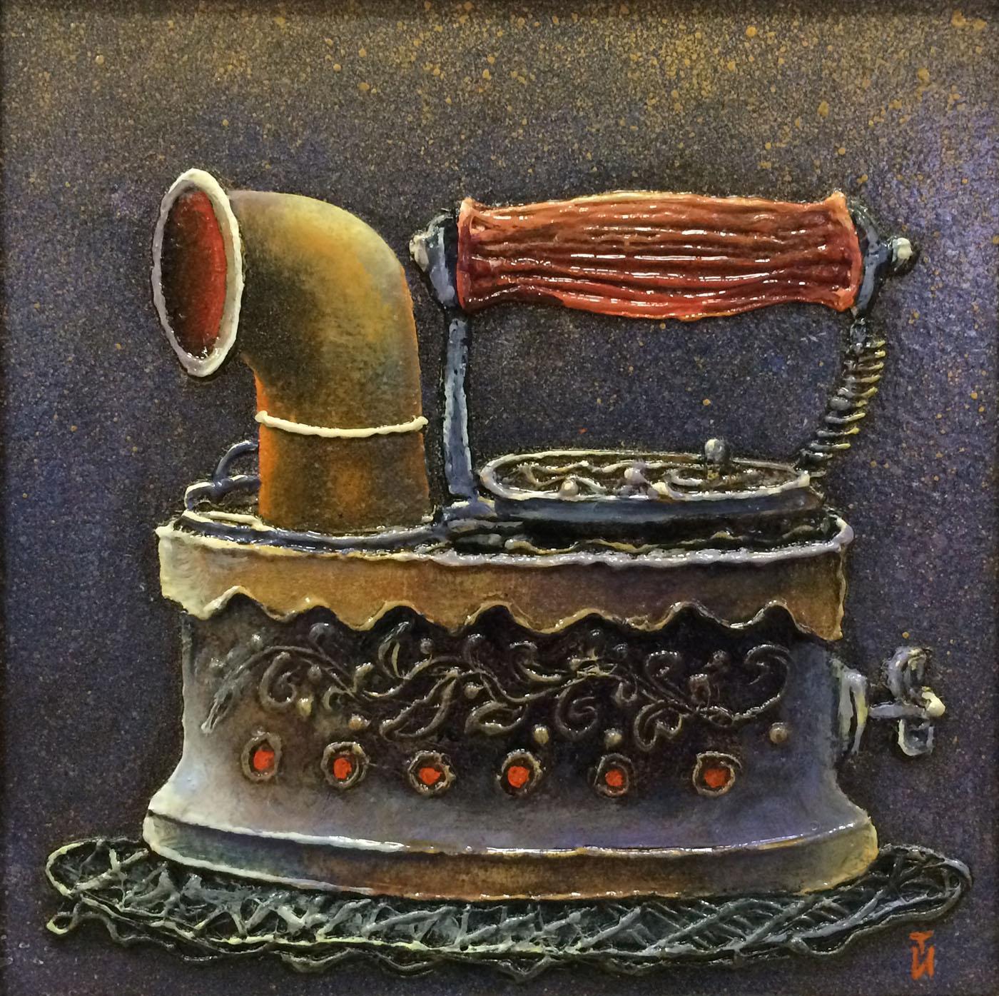 очень старинный утюг паровоз фото монтажа бесшовных текстильных
